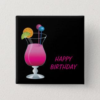 Feier-rosa Cocktail-alles Gute zum Geburtstag Quadratischer Button 5,1 Cm