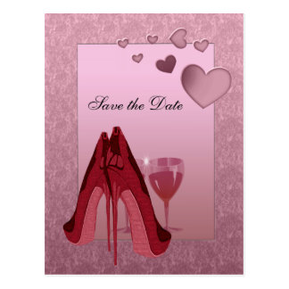 Feier-rotes Stilett und rosa Herzen Postkarte