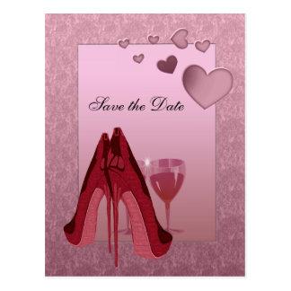 Feier-rotes Stilett und rosa Herzen Postkarten