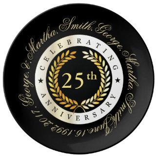 Feiern des 25. Jahrestages Porzellanteller