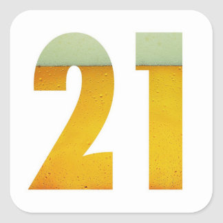 Feiern Sie 21. Geburtstag Quadratischer Aufkleber