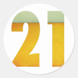 Feiern Sie 21. Geburtstag Runder Aufkleber