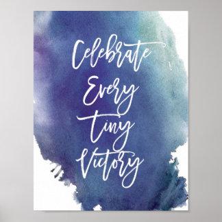 """""""Feiern Sie"""" blaues Aquarell-Plakat Poster"""