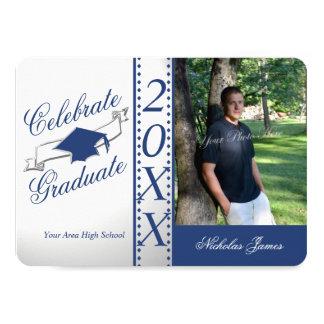 Feiern Sie graduiertes blaues Abschluss-Foto 11,4 X 15,9 Cm Einladungskarte