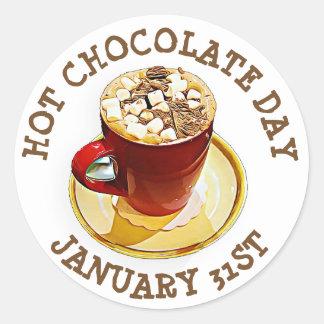 Feiern Sie heiße Schokoladen-Tag, am 31. Januar Runder Aufkleber