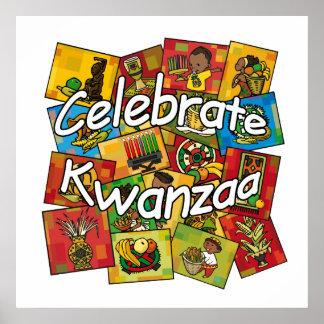 Feiern Sie Kwanzaa-Collage Posterdruck