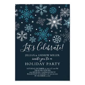Feiern Sie Schneeflocke-Feiertags-Party Einladung