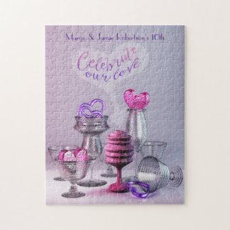 Feiern Sie unser Liebevalentine-Herz-Cocktail-Glas Puzzle