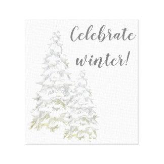 Feiern Sie Wintersnowy-Baum-Wand-Kunst Leinwanddruck