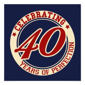 Feiern von 40 Jahren Perfektion Quadratische 13,3 Cm Einladungskarte