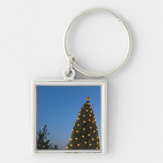 Feiertag der großer und wenig Weihnachtsbaum-I in Silberfarbener Quadratischer Schlüsselanhänger