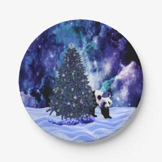 Feiertag des Pandas Weihnachtsbeim Nordpol Pappteller