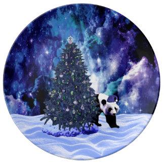Feiertag des Pandas Weihnachtsbeim Nordpol Porzellanteller