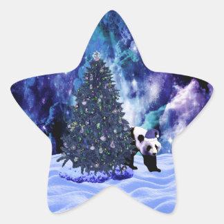 Feiertag des Pandas Weihnachtsbeim Nordpol Stern-Aufkleber
