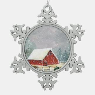 Feiertage auf dem Gehöft Schneeflocken Zinn-Ornament