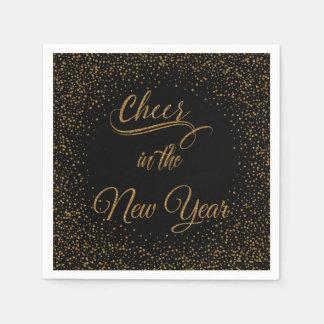 Feiertage - Beifall im neues Jahr-GoldGlitzer Papierserviette