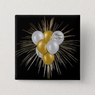 Feiertage - guten Rutsch ins Neue Jahr-Ballone Quadratischer Button 5,1 Cm