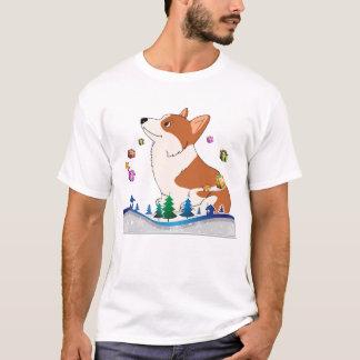 Feiertagpembroke-Walisercorgi-Cartoon mit T-Shirt