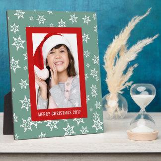 Feiertags-aquamariner Schneeflocke-Entwurf des Fotoplatte