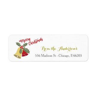 Feiertags-Bell-Weihnachtsadressen-Etikett