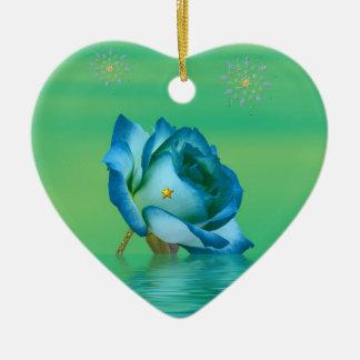 Feiertags-Blau-Rose Keramik Ornament