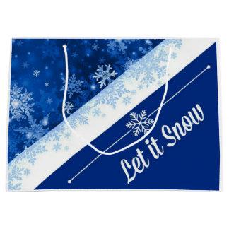 Feiertags-Blau-Schneeflocke Große Geschenktüte