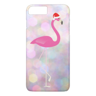 Feiertags-Flamingo iPhone 7 auf bunten Lichtern iPhone 8 Plus/7 Plus Hülle