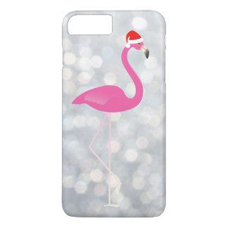 Feiertags-Flamingo iPhone 7 auf silbernen Lichtern iPhone 8 Plus/7 Plus Hülle