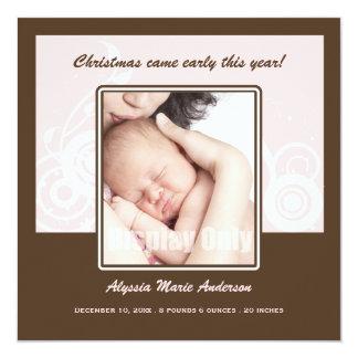 Feiertags-Foto-Geburts-Mitteilung Quadratische 13,3 Cm Einladungskarte