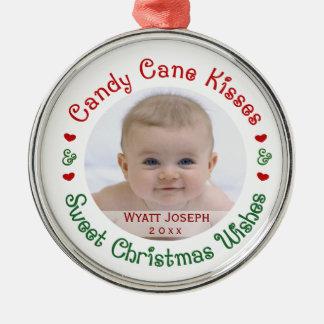 Feiertags-Foto-Geschenk des Babys 1. erstes Silbernes Ornament