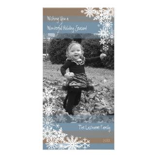 Feiertags-Foto-Karte: Gelassen ihm schneien! Beige Personalisierte Photo Karte
