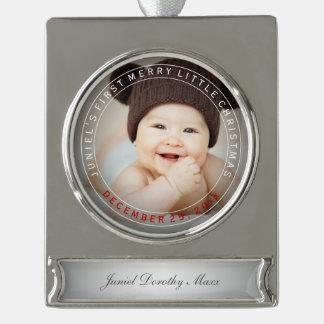 Feiertags-Foto PixDezines Babys erstes Weihnachts Banner-Ornament Silber