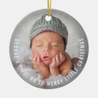 Feiertags-Foto-Verzierung des Babys erste Keramik Ornament