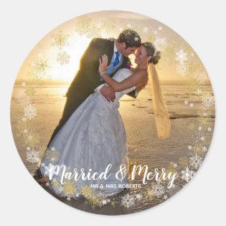 Feiertags-Fotoaufkleber der verheirateten u. Runder Aufkleber