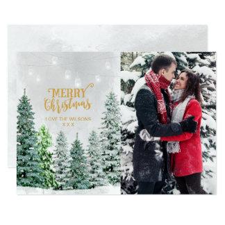 Feiertags-Fotokarten-Weihnachtsbaum-Schneewinter 12,7 X 17,8 Cm Einladungskarte