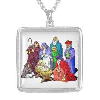 Feiertags-Geburt Christis-Szenen-Halskette Versilberte Kette