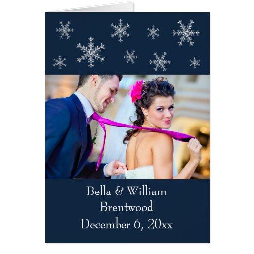 Feiertags-Glamour-blaue Hochzeit danken Ihnen zu Mitteilungskarte