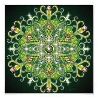 Feiertags-Grün-Mandala Photodrucke
