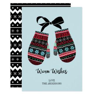 Feiertags-Handschuhe wärmen Wunsch-Weihnachtskarte Karte