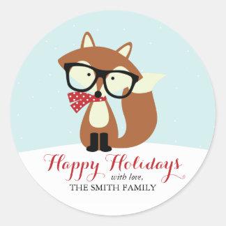 Feiertags-Hipster-BrownFox Runder Aufkleber