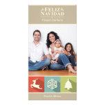 Feiertags-Ikonen Feliz Navidad (beige) Foto Karten Vorlage