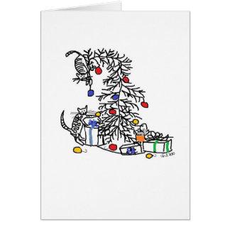 Feiertags-Karte - Kätzchen gegen Weihnachtsbaum Karte