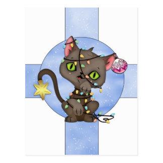 Feiertags-Karte mit Katze - Postkarte -