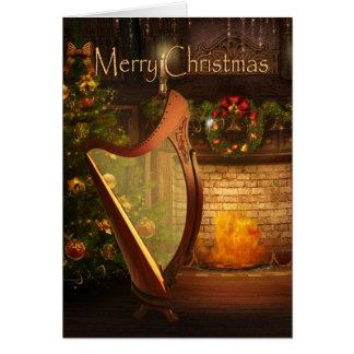 Feiertags-keltische Harfen-Karte Karte