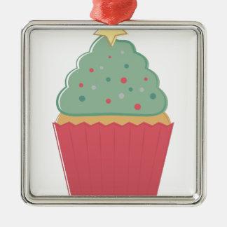 Feiertags-kleiner Kuchen Quadratisches Silberfarbenes Ornament