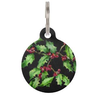 Feiertags-Kreide-Grün-Stechpalme und rote Tiernamensmarke