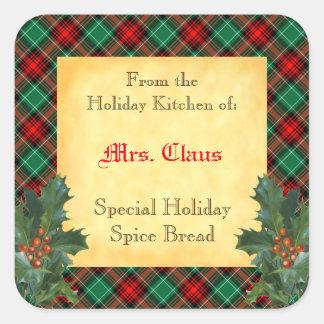 Feiertags-Küche Stechpalmen-des karierten Quadratischer Aufkleber