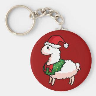 Feiertags-Lama-Elf Schlüsselanhänger
