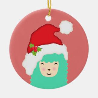 Feiertags-Lama-Weihnachtsverzierung Keramik Ornament