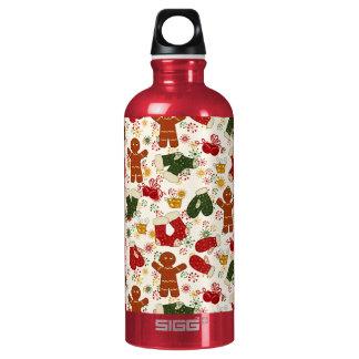 Feiertags-Lebkuchen-Muster Aluminiumwasserflasche
